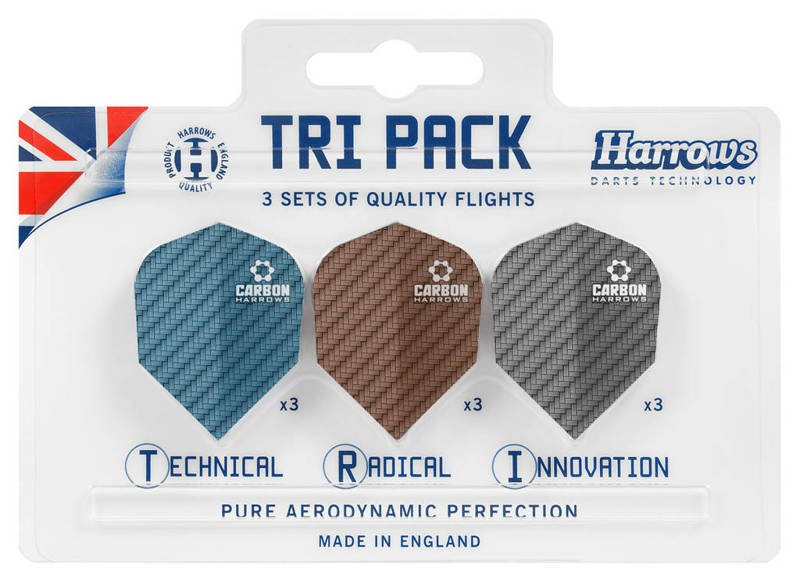 Piórka Harrows TRI PACK Carbon 3x3